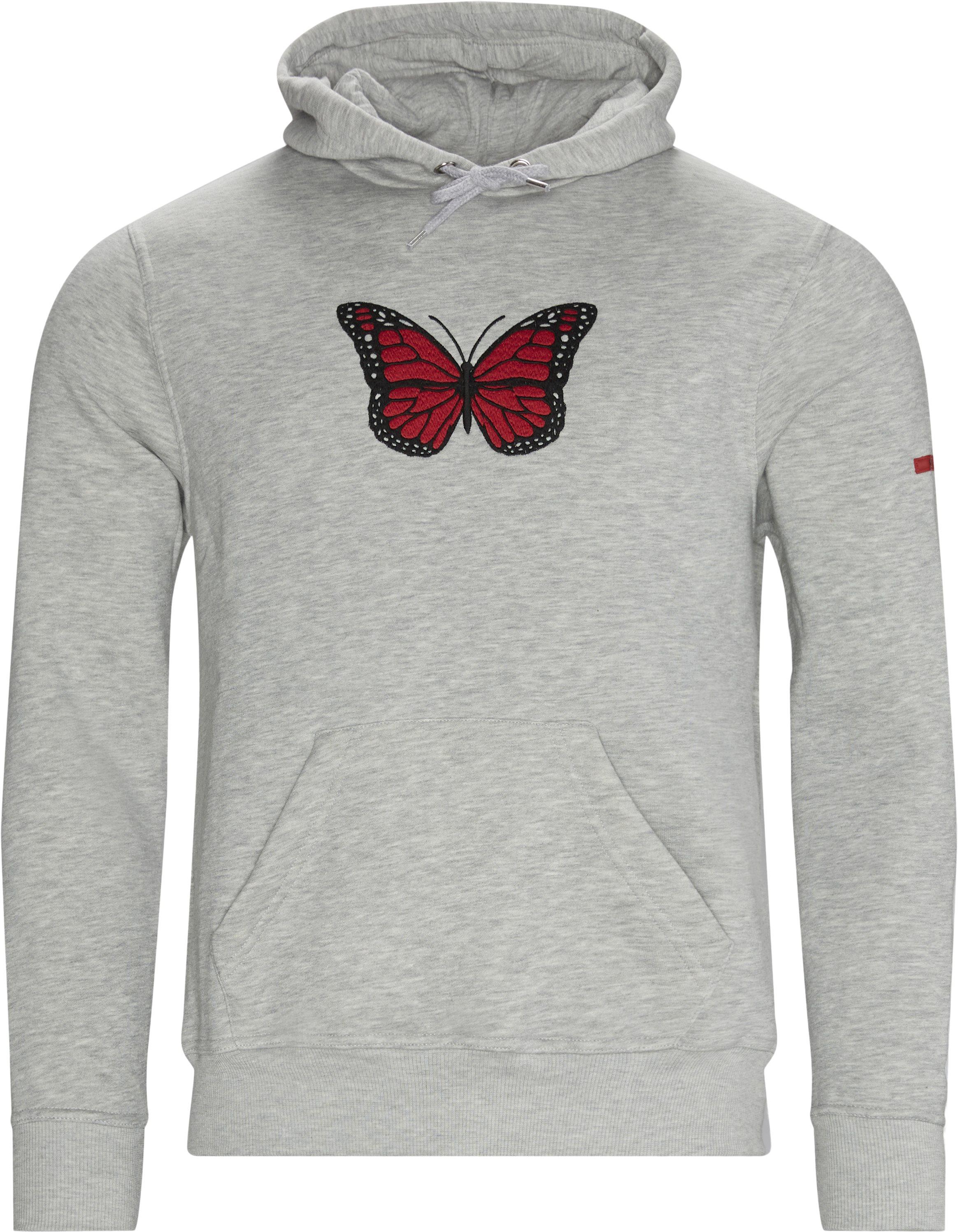 Butterfly Hoodie - Sweatshirts - Regular - Grå